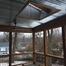 Corrugated metal ceiling