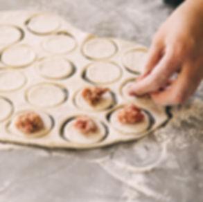 Home-made recipe for dumplings ravioli.