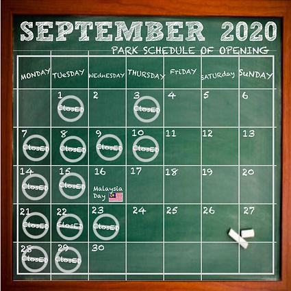 Calendar September Schedule of Opening -