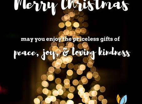 Peaceful, joyful Christmas to you