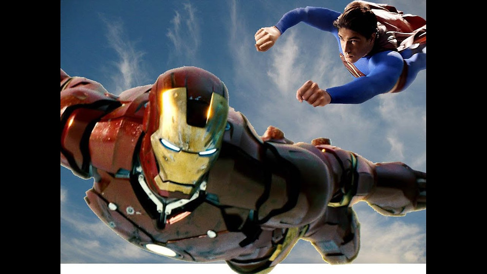 An image spoof showing superman and iron man arriving in India to help in the efforts of law and order.