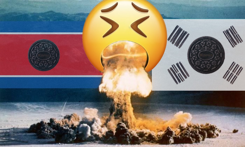 An image of what an impending puke war between the Koreon countries could look like.