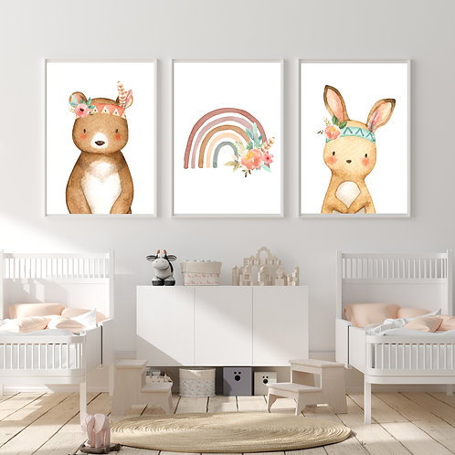 Forest animals2 - 3 pic | תמונות נורדיות לחדר ילדים