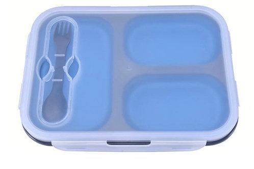 קופסת אוכל 3 תאים - תכלת