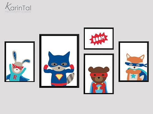 Superheros - 5 pic | סט תמונות גיבורי על לחדר בנים
