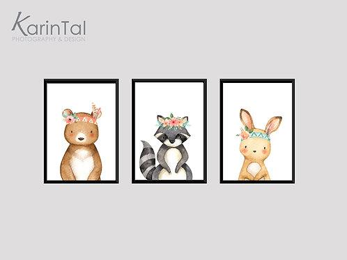 Sweet Animals flowers - 3 pic | תמונות חיות נורדיות לחדר ילדים