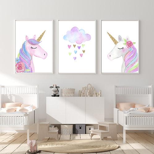 Unicorns - 3 pic | תמונות חד קרן לחדר בנות