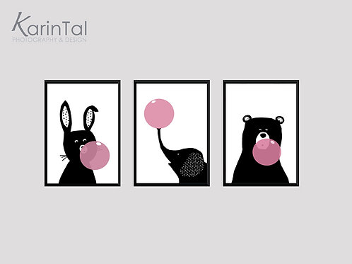 Animals Pink balloons - 3 pic   תמונות חיות לחדר בנות