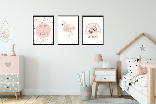 Flamingo - 3 pic | תמונות פלמינגו לחדר בנות