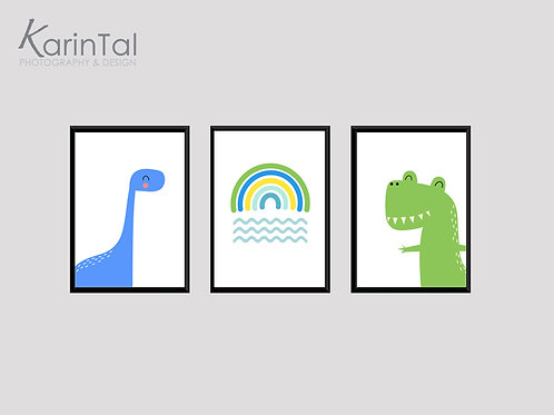 Dinosaur - 3 pic | תמונות דינוזאור לחדר בנים