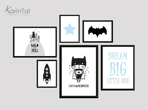 Dream big superhero - 6 pic | סט תמונות בטמן לחדר בנים