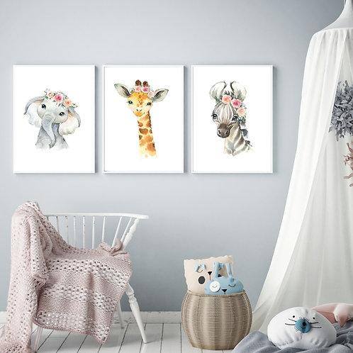 Zebra giraffe elephant - 3 pic | תמונות של חיות לחדר ילדים
