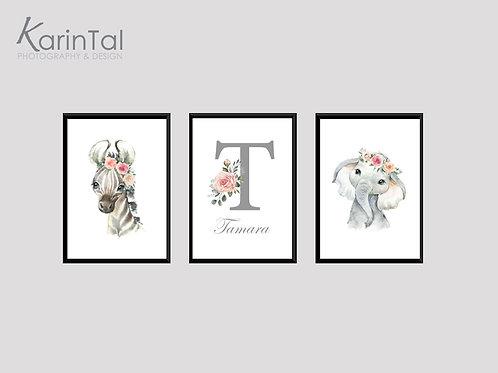 Elephant & zebra - 3 pic | סט תמונות חיות לחדר בנות