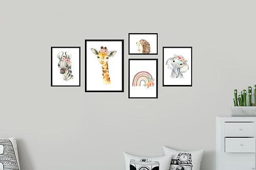 Nordic animals3 - 5 pic | סט תמונות חיות לחדר ילדים