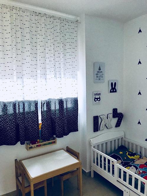 וילון לחדר תינוקות וילדים - דגם שחור לבן חיצים