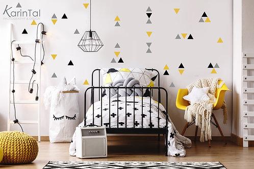 מדבקות קיר משולשים - צהוב, שחור, אפור בהיר