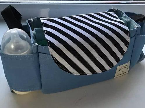 ארגונית לעגלה | ארגונית לעגלת תינוק  - דגם כחול פסים שחור לבן