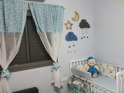 וילון לחדר תינוקות וילדים - דגם תכלת לבן עננים