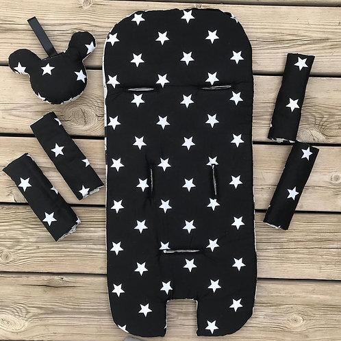 סט לעגלת תינוק - שחור לבן כוכבים