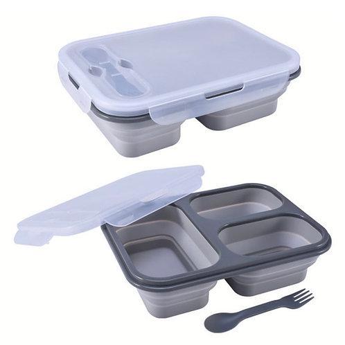 קופסת אוכל 3 תאים - אפור