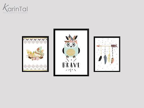 Brave owl- 3 pic | סט תמונות ינשוף בוהו שיק לחדר ילדים