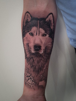 Wolf and compass piece