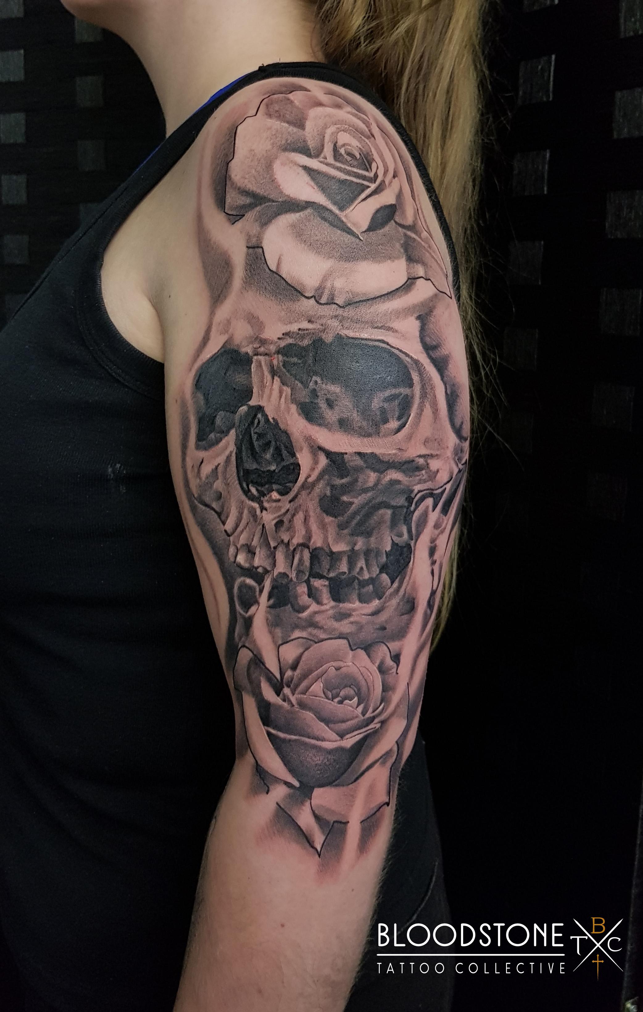 Skull and Roses half sleeve