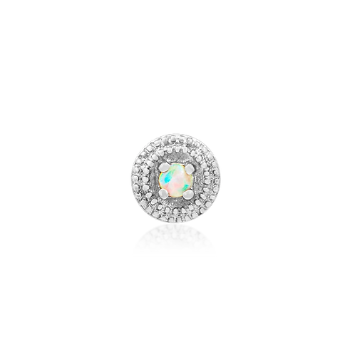 Round Double Millgrain With Opal - White Gold