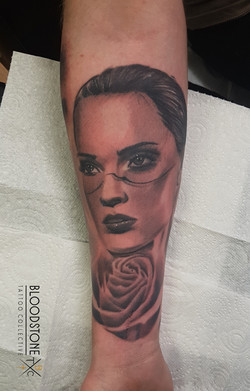 Womans face with Rose