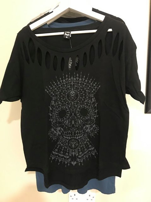 Black Ornamental Ripped Skull Top