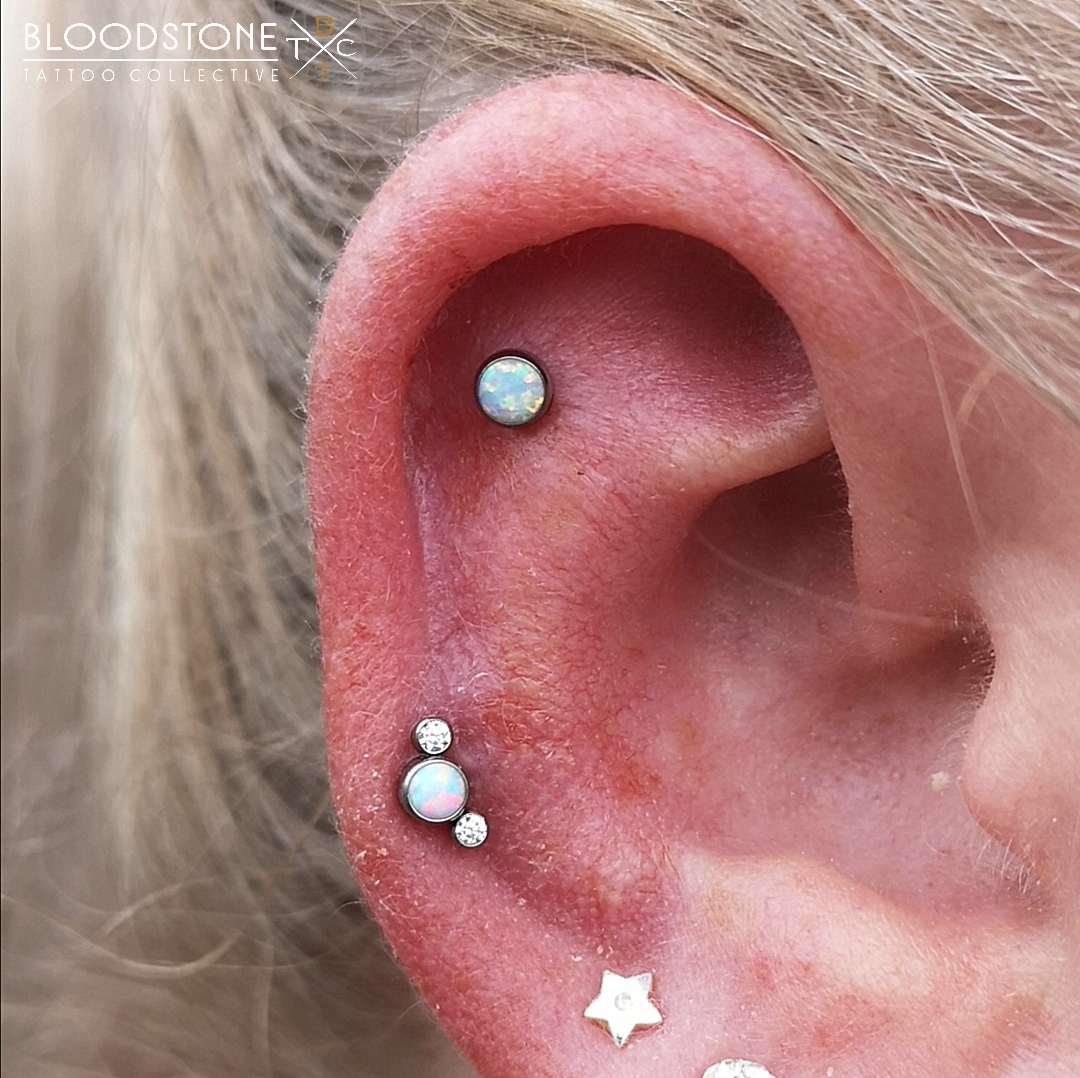 Flat piercing and lower helix
