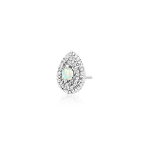 Pear Opal Double Millgrain - White Gold