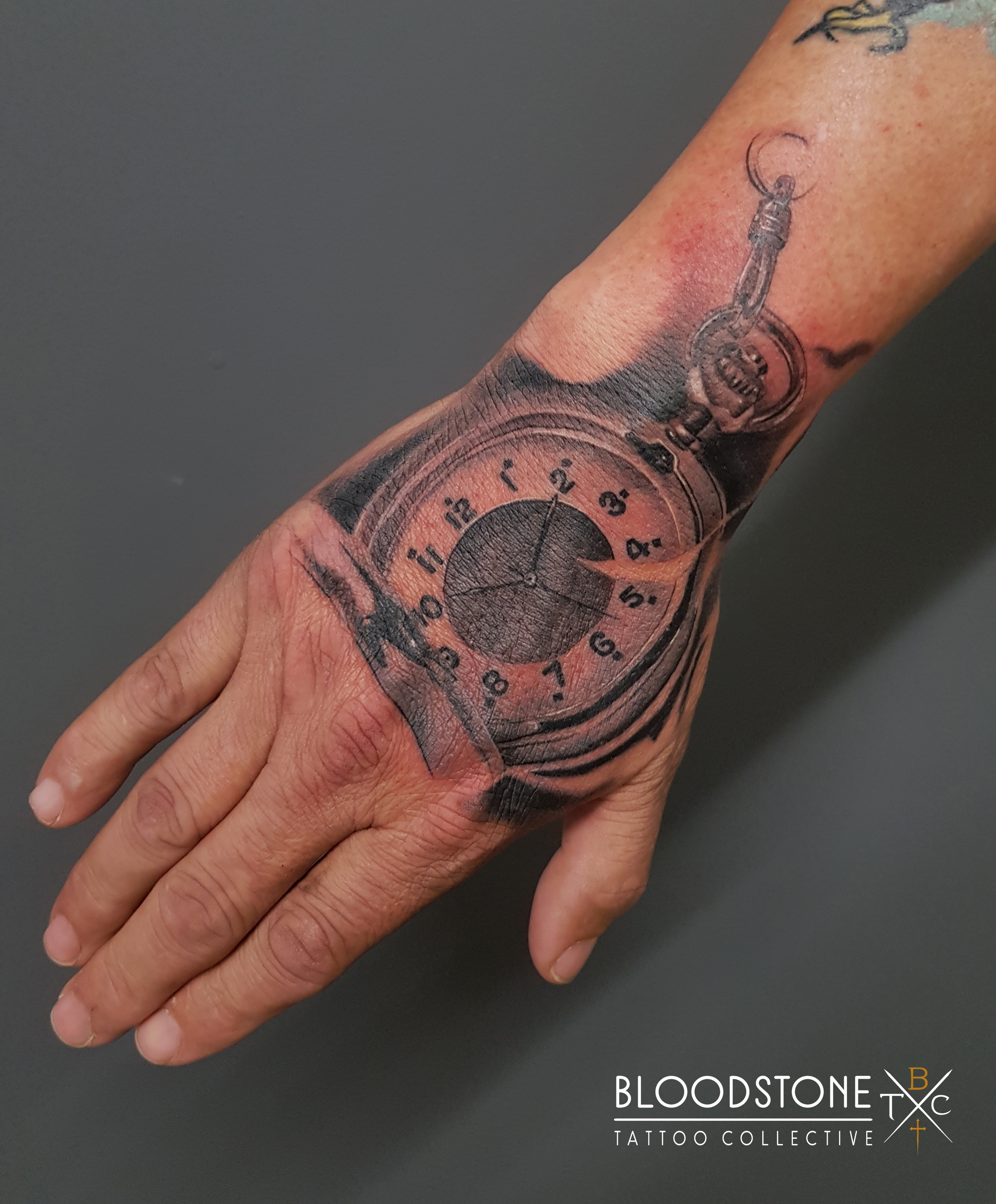 Pocket watch on the hand