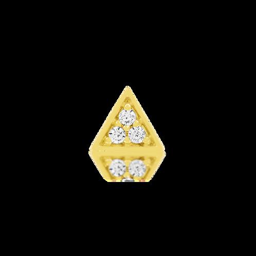 Gold Triangle With 3 Swarovski CZ Stones - Yellow Gold