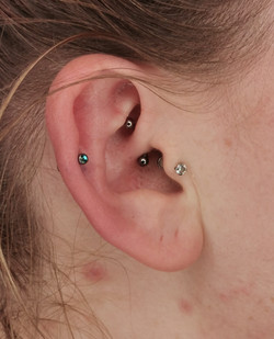 Diath and helix piercing