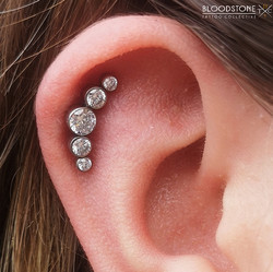 Helix piercing with large CZ Cluster