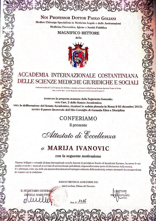 Maria Ivanovich Piano Attestato di Eccel