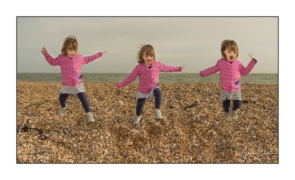 Lucinda Jumping on the Beach