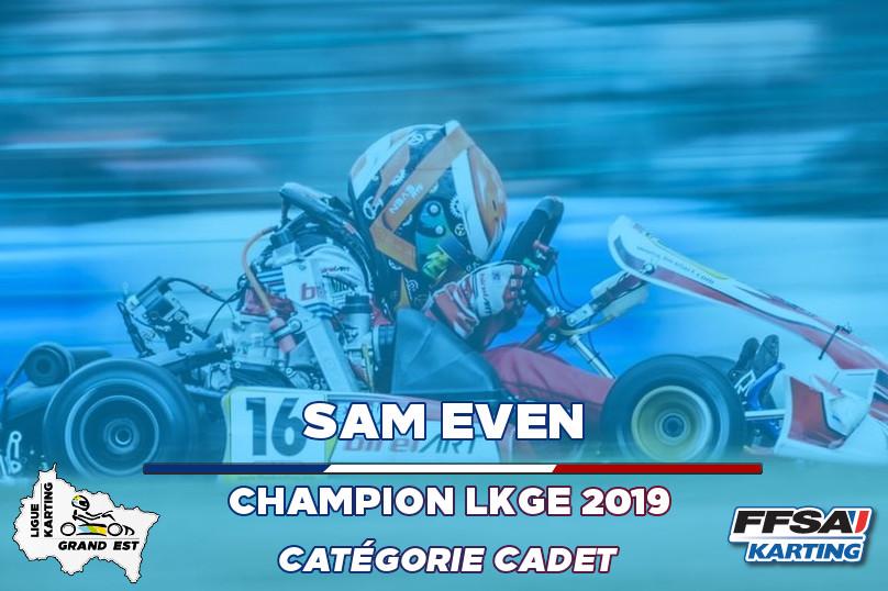 LKGE Sam Cadet Champion Championnat Kart
