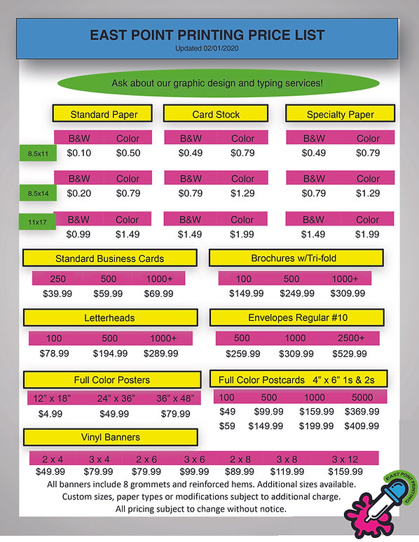 East Point Printing Price List Recommend