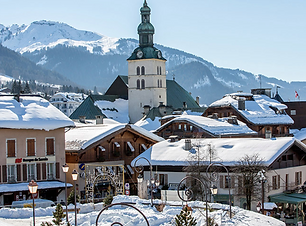 winter view St Gervais town