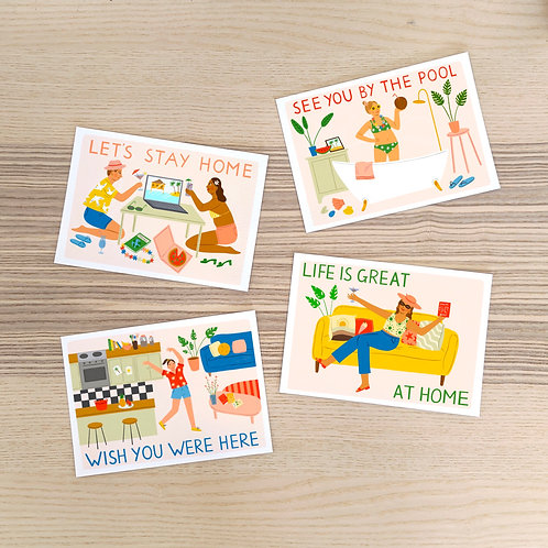 Stay-Home Postcards (Pack of 4)