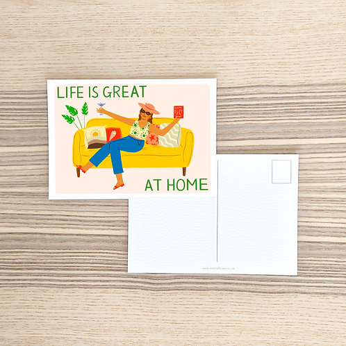Life Is Great At Home Postcard