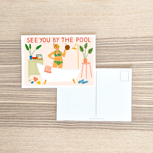 See You By The Pool Postcard