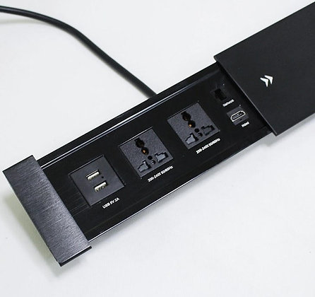 Sliding desktop power insert