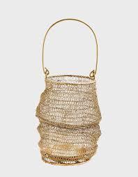 Lanterne en maille avec anse – Laiton – D20xH31 cm