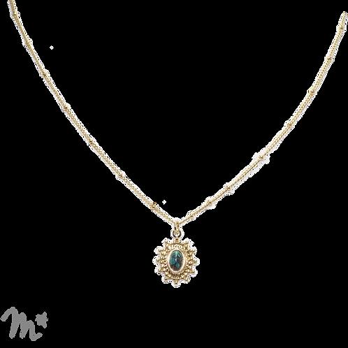 Collier Paloma doré à l'or fin 24 carats pierre fine turquoise