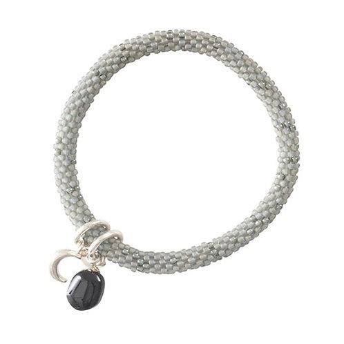 Bracelet A Beautiful Story Jacky Onyx noir et Pierre de Lune