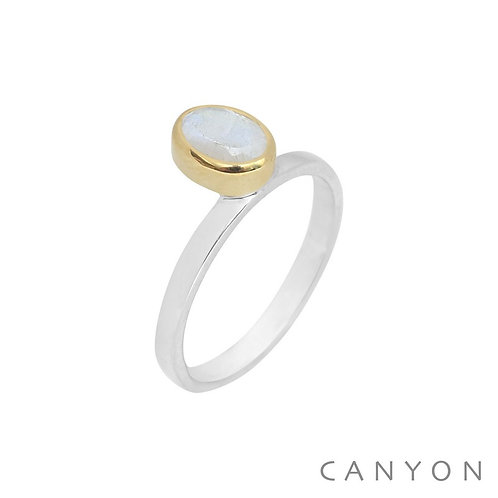 Bague en argent et laiton avec pierre de lune ovale Canyon
