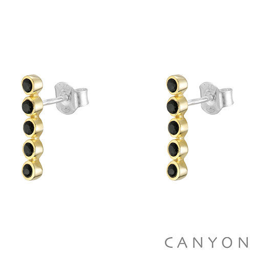 Boucles d'oreille 5 onyx noirs Canyon